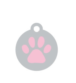 Small Silver Disc And Pink Dog Paw ID Tag