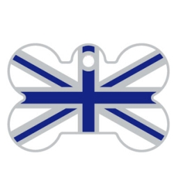 Blue And White Union Jack Bone Dog ID Tag