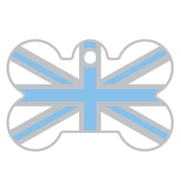 Light Blue And White Union Jack Bone Dog ID Tag