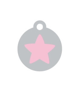 Small Silver Disc Pink Star Pet ID Tag