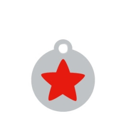 Small Silver Disc Red Star Pet ID Tag