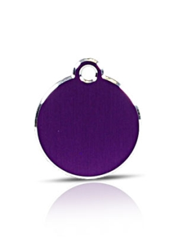 Small Purple Disc Pet Name ID Tag Hi Line