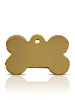 Large Gold Bone Prestige Pet ID Tags For Dogs