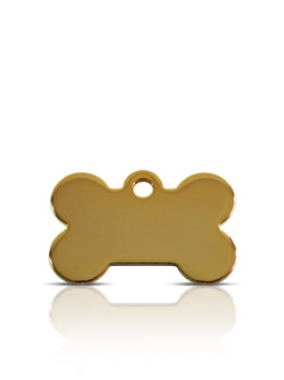 Small Gold Bone Prestige Pet ID Tags For Dogs