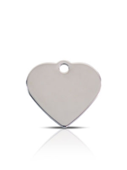 Small Silver Heart Prestige Pet ID Tags For Dogs