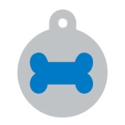 Silver Disc Blue Bone Pet ID Tag