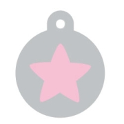 Silver Circle Pink Star Pet ID Tag