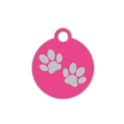 Wholesale Small Disc Two Paws Red Dog ID Tags x10 Pack