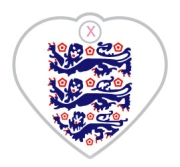 England Three Lions Dog ID Tag Small Heart