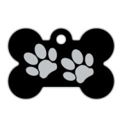 Black Large Bone Two Paws Supreme Range Dog ID Tag