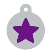 Silver Circle Purple Star Pet ID Tag