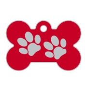 Red Large Bone Two Paws Supreme Range Dog ID Tag