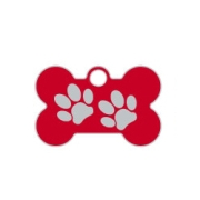 Red Small Bone Two Paws Supreme Range Dog ID Tag