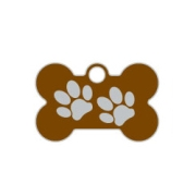 Wholesale Small Bone Two Paws Green Dog ID Tags x10 Pack