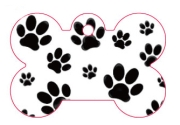 Dog Paw Prints Large Bone Dog ID Tags