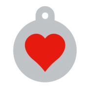 Silver Circle Red Heart Pet ID Tag