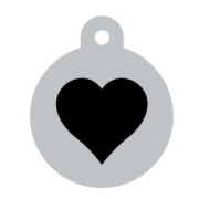 Silver Circle Black Heart Pet ID Tag