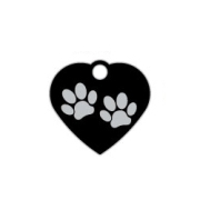 Black Small Heart Two Paws Supreme Range Dog ID Tag