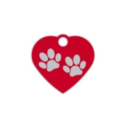 Red Small Heart Two Paws Supreme Range Dog ID Tag