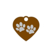 Brown Small Heart Two Paws Supreme Range Dog ID Tag