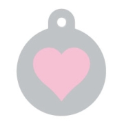Silver Circle Pink Heart Pet ID Tag