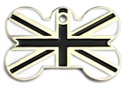 Black And White Union Jack Bone Pet ID Tag