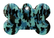 Camo Army Blue And Grey Bone Dog ID Tag