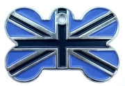 Dark And Light Blue Union Jack Bone Dog ID Tag