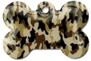 Camo Army Desert Bone Dog ID Tag
