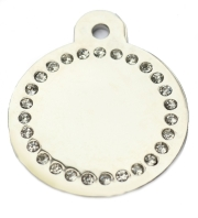 Silver Disc Clear Diamonds Champion Pet ID Tags For Dogs
