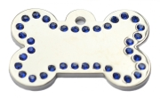 Silver Bone Blue Diamonds Champion Pet ID Tags