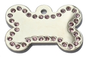 Silver Bone Pink Diamonds Champion Pet ID Tags