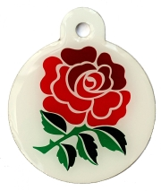 England Rugby Rose Disc Dog ID Tag