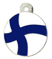 Finland Flag Large Disc Dog ID Tag