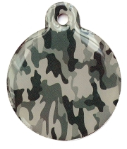 Camo Army Grey Large Disc Dog ID Tag