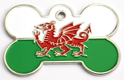 Wholesale Flag Tag Wales Small Bone Dog ID Tags x10 Pack