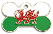 Large Wales Flag Bone Pet ID Tag