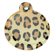 Leopard Print Large Disc Dog ID Tag