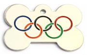 Olympic Rings Bone Dog ID Tag