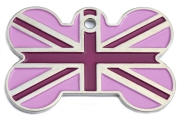 Purple Union Jack Bone Dog ID Tag
