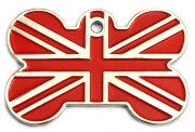 Red Union Jack Bone Dog ID Tag