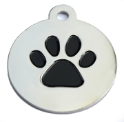 Silver Disc Black Paw Tag