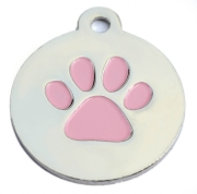Silver Disc Pink Paw ID Tag
