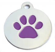 Wholesale Large Silver Disc And Purple Star Dog ID Tags x10 Pack