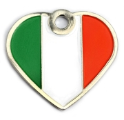 Wholesale Flag Tag Italy Large Heart Dog ID Tags x10 Pack