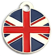 Uk Flag Dog ID Tag Small Heart