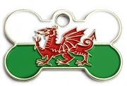 Welsh Flag Dog ID Tag Small Heart