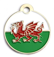 Wholesale Flag Tag Wales Small Disc Dog ID Tags x10 Pack