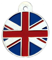 Large Union Jack Flag Disc Dog Name ID Tags