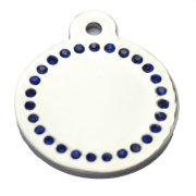 Silver Disc Blue Diamonds Champion Pet ID Tag